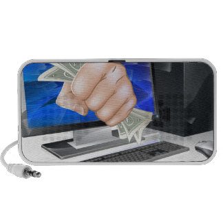 Computer with fist full of cash mp3 speaker