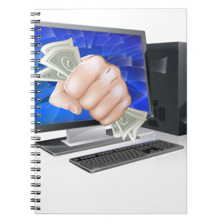 Computer with fist full of cash note book
