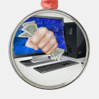 Computer with fist full of cash christmas tree ornaments