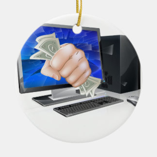Computer with fist full of cash ornament
