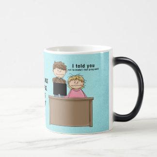 Computer work mug morphing mug