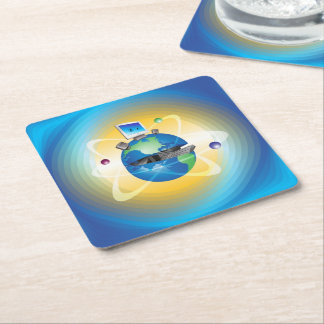 Computer World Square Paper Coaster