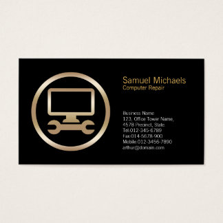 Computer Wrench Icon Computer Repair Business Card