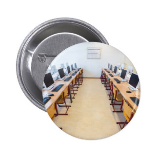 Computers in classroom of dutch education pinback button
