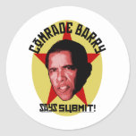 Comrade Barry Says SUBMIT Round Sticker