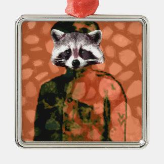 Comrade raccoon metal ornament