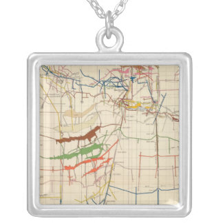 Comstock Mine Maps Number VI Silver Plated Necklace