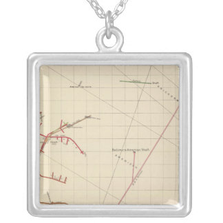 Comstock Mine Maps Number VIX Silver Plated Necklace
