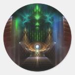 Comtemplación de arte del fractal de la onza etiquetas redondas