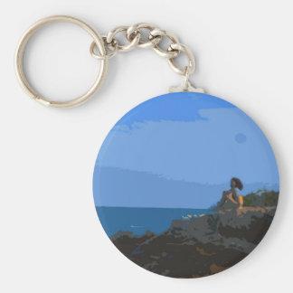 Comtemplación de la calma del mar llavero redondo tipo pin