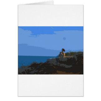 Comtemplación de la calma del mar tarjeta de felicitación