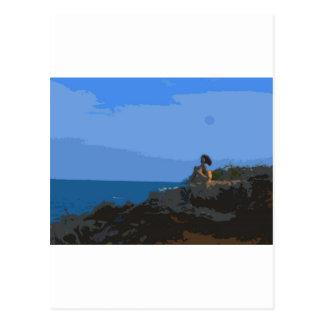 Comtemplación de la calma del mar tarjeta postal