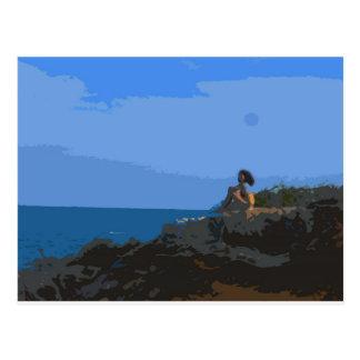Comtemplación de la calma del mar tarjetas postales
