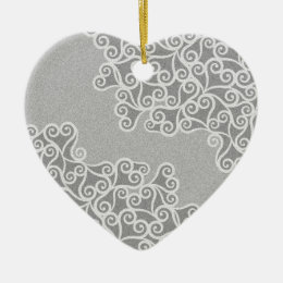Comtemporary Abstract Leaves Grey Pattern Ceramic Ornament