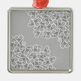 Comtemporary Abstract Leaves Grey Pattern Metal Ornament
