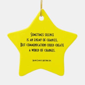 comunicación adorno navideño de cerámica en forma de estrella