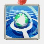 Comunicación global, ordenador conceptual 2 ornamento de navidad