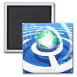 Comunicación global, ordenador conceptual 2 imán cuadrado