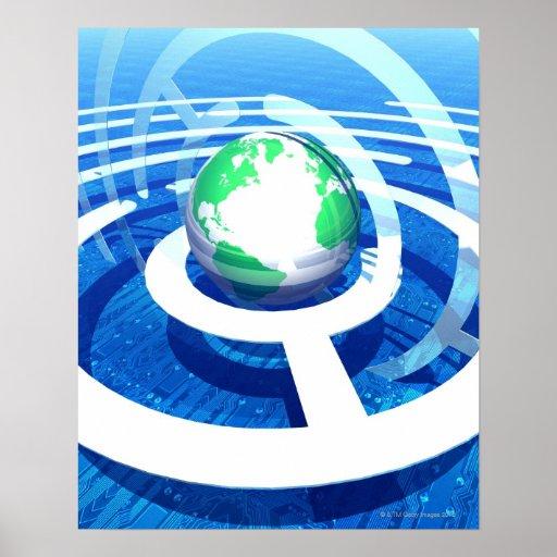 Comunicación global, ordenador conceptual 2 póster