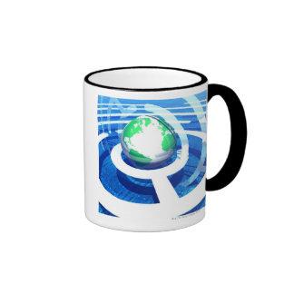 Comunicación global, ordenador conceptual 2 tazas de café