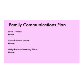 Comunicaciones de la familia/plan del desastre tarjeta personal