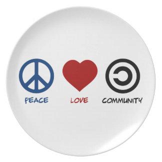 Comunidad del amor de la paz plato de cena