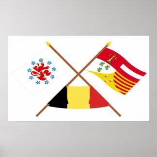 Comunidad y banderas de habla alemana cruzadas de póster