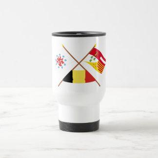 Comunidad y banderas de habla alemana cruzadas de taza de viaje de acero inoxidable