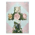 Comunión azul y rosada del trullo del vintage invitación personalizada