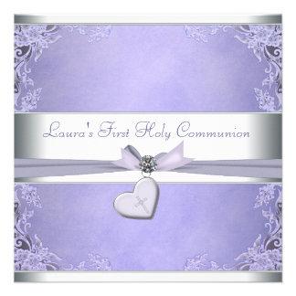 Comunión de la púrpura cruzada de los chicas de la invitaciones personales