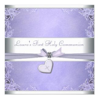 Comunión de la púrpura cruzada de los chicas de la invitación 13,3 cm x 13,3cm