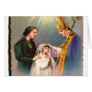 Comunión de la tarjeta santa católica del kitsch