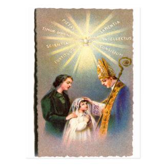 Comunión de la tarjeta santa católica del kitsch postales