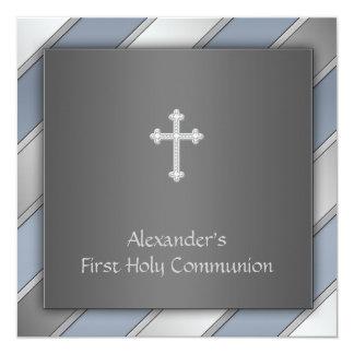 Comunión de los muchachos de la raya azul primera invitación 13,3 cm x 13,3cm