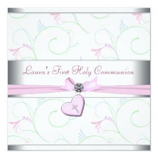 """Comunión del corazón de la lavanda primera de la invitación 5.25"""" x 5.25"""""""