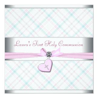 """Comunión del corazón del trullo primera de la cruz invitación 5.25"""" x 5.25"""""""