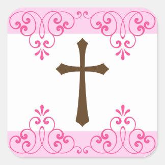Comunión del damasco rosado cruzado del cordón de calcomanía cuadradas personalizadas