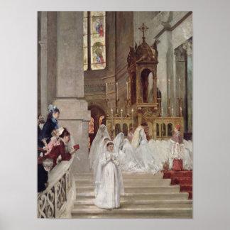Comunión en la iglesia de la trinidad, 1877 póster