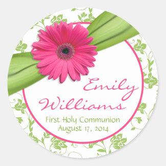 Comunión floral blanca del verde rosado de la marg pegatina redonda