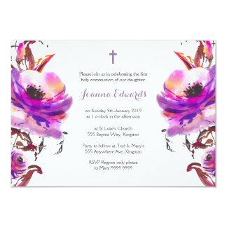 """Comunión floral de la acuarela púrpura primera invitación 5"""" x 7"""""""