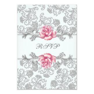 """Comunión RSVP de los chicas color de rosa rosados Invitación 3.5"""" X 5"""""""