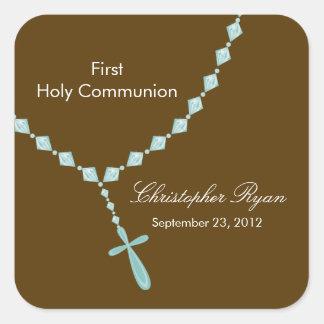 Comunión santa Brown azul de las gotas del rosario Calcomania Cuadradas