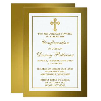 """Comunión santa o confirmación de la cruz metálica invitación 5"""" x 7"""""""