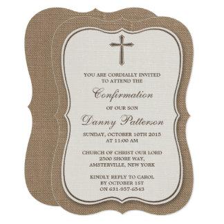 """Comunión santa o confirmación de la cruz rústica invitación 5"""" x 7"""""""