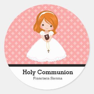 Comunión santa pegatina redonda