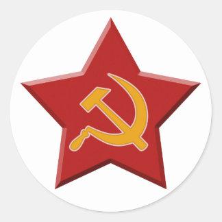 Comunista rojo de la estrella de la hoz soviética pegatina redonda