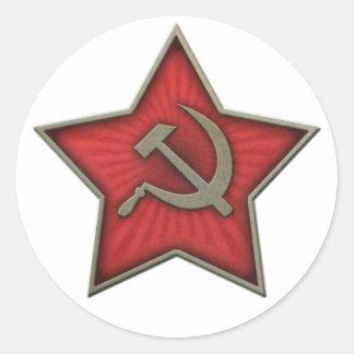 Comunista soviético del martillo y de la hoz de la pegatina redonda