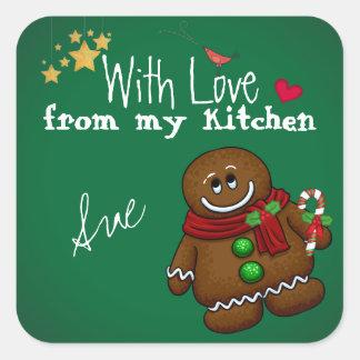Con amor de mis pegatinas de la cocina del día de pegatina cuadradas