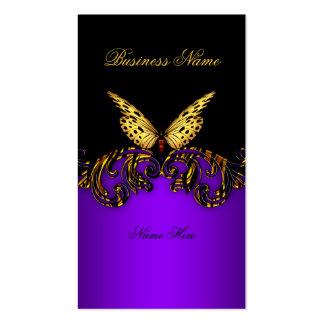 Con clase elegante del oro de la mariposa púrpura  tarjetas de visita