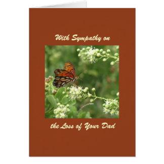 Con condolencia pérdida de papá mariposa anaranj felicitacion